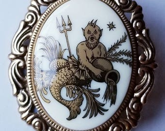 Poseidon Neptune Merman Brooch - Gold on White with Filigree Frame