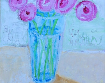Mixed Media Floral Still Life Painting small painting