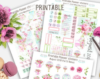 Printable Stickers, August Planner Stickers, Summer Printable Stickers, Life planner stickers, Floral Planner stickers, August Monthly Kit