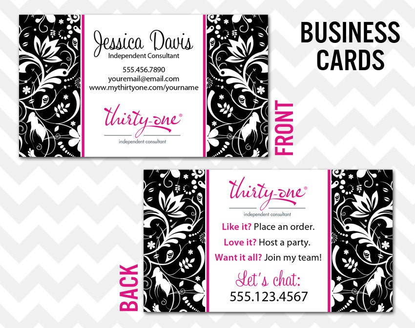 thirty one business card printable direct sales mlm business