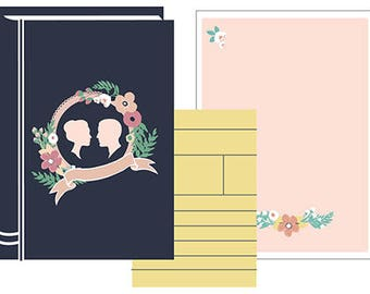 Blank DIY Library Book Invitation Set PDF (Bride and Groom Silhouettes - Navy Blue/Pink)