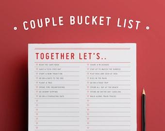 Together Let's.. : Couple Bucket List / Editable Planner / Checklist / Instant Download /