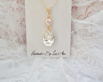 Yellow Gold Swarovski crystal necklace Gold crystal Wedding necklace For a Bride Bridesmaid necklace Bridal Wedding Jewelry SOPHIA