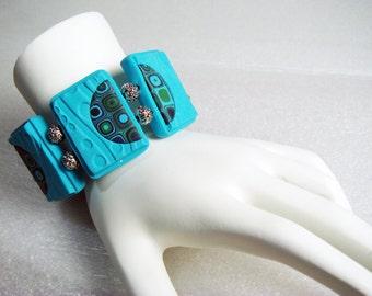 Handmade Aqua and Matching Colors Gustav Klimt Tile Bracelet, Polymer Clay Bracelet, Handmade Bracelet, Jewelry, Textured, Tile Bracelet