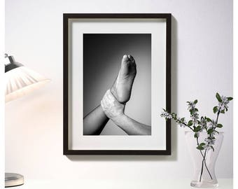 Framed photos, hand with foot, fetish, furniture photos, black and white photography