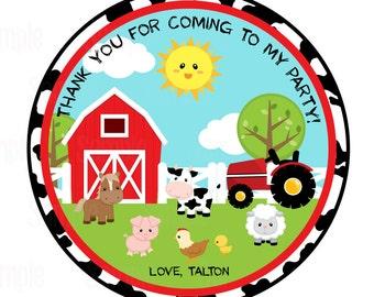 Printable Farm animal Favor Tags