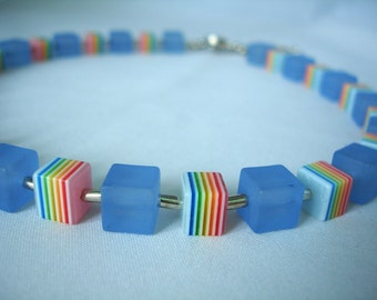 Multi Colored Resin & Acrylic Beads Necklace - Cube shaped beads - Sky Blue Matt - Striped Beads