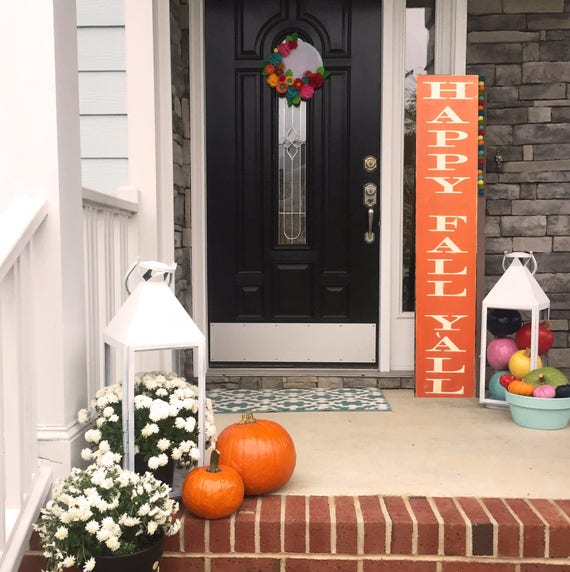Large Happy Fall Y'all Sign. Welcome Sign. Outdoor sign. Porch Sign. Entryway Sign. Fall Porch Decor. Rustic Farmhouse Decor. Oversized Sign