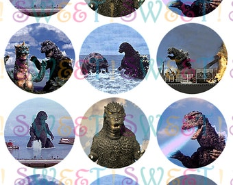 Edible Classic Godzilla Cupcake, Cookie & Oreo Toppers - Wafer Paper or Frosting Sheet.
