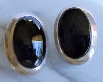 Vintage Black Onyx 925 Sterling Silver Earrings, Onyx Gemstone Sterling Oval Earrings, Black & Silver Clip On Earrings, Gift For Her, 1970s'