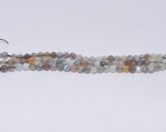 Botswana Agate - Full Strand - 4 mm, Round, Faceted, Natural - BOTSA-F-R-4
