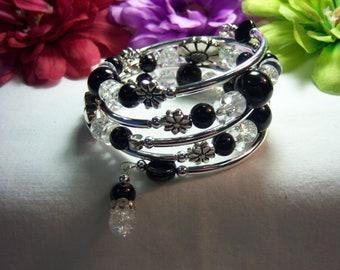 Women's Wire Wrap Memory Black & Clear Bracelet