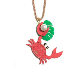 Crab Necklace. LaliBlue