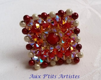 """ring """"Lisbon"""" Swarovski crystal red coral and fire opal"""