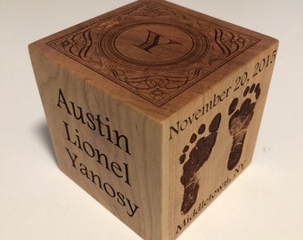 Baby Block Personalized Custom Engraved Wood Gift