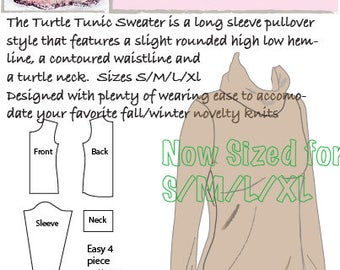 Hourglass Patterns©-Turtle Tunic Long Sleeve Sweater, Women's Sewing Pattern with Slight High Low Hem and turtleneck.  Sized for S/M/L/XL