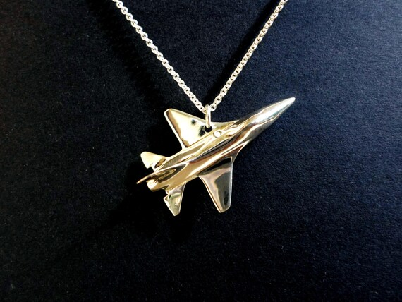 Airplane F16 pendant jewelry, airplane jewelry, fighter pilot fathers day gift solid sterling silver hand carved US air force jewelry