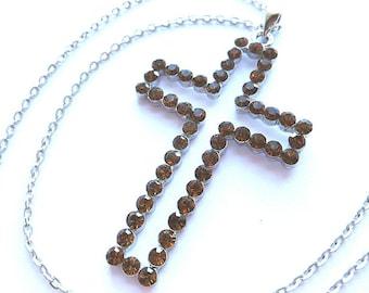 Faux CHOCOLATE DIAMONDS Cross, Vintage Amber Rhinestone Cross, Silver Rhinestone Cross Pendant, Brown Rhinestone Cross & Neck Chain