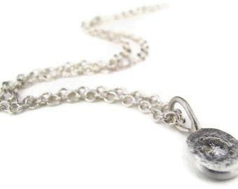 Moissanite Pebble Pendant Sterling Silver Diamond Like