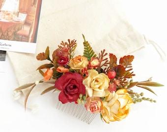 Autumn flower Hair comb, Fall Yellow Orange hair comb, Wedding headpiece, Marsala headpiece, Fall wedding hair comb, orange hair accessories