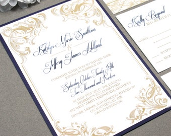 Scroll Wedding Invitations, Purple and Gold Wedding Invitation Suite, Victorian Wedding Pocket Invite Set, Royal Wedding Invites Script