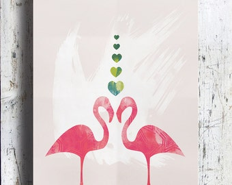 A3 Hot Pink Flamingos with Hearts, Limited Edition Art Prints by CTIllustration