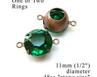 CLEARANCE SALE - Emerald green vintage glass beads - 48ss or 11mm rhinestone earrings or pendants - sheer green glass gems - one pair