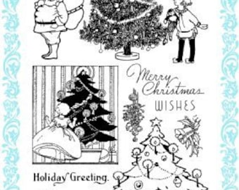 """Decorating Christmas Tree // Clear stamps pack (4""""x7"""") FLONZ"""