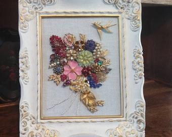 Elegant Framed Vintage Jewelry Bouquet