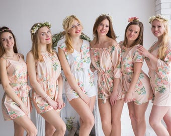 Blush Mismatched Rompers By Silkandmore - Dreamy Angel Song pattern - Bridesmaids Gifts, Bridesmaids Rompers