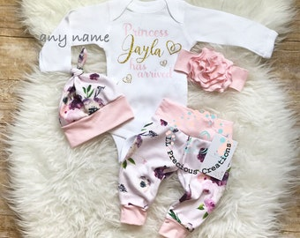 Baby Girl Coming Home Outfit  Newborn Girl Outfit Personalized Baby Girl Outfit Photo Prop Floral Outfit  Baby Shower Gift Any Name