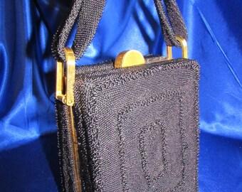 VINTAGE 1940'S*Original FRE-More Creation Black Beaded Gold Metal Frame Purse Classic!! B6