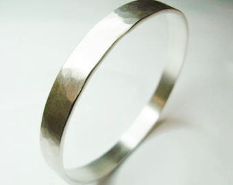 Solid Silver Bangle With Matt Hammered Finish