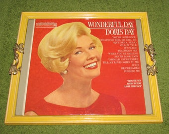 Recycled Picture Frame Vintage Record Album Cover Tray - Doris Day - Wonderful Day, yellow, red, ART