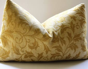 Kravet-Sulfur Yellow Pillow Cover on a Yellow Cream Chenille  Background. Decorative Designer Cover in Square and Lumbar Sizes