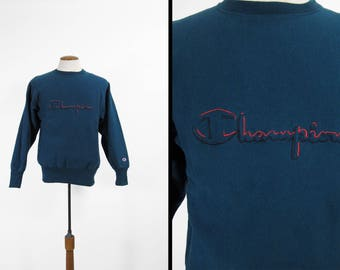 Vintage Champion Reverse Weave Sweatshirt Navy Blue Embroidered Made in USA - Medium