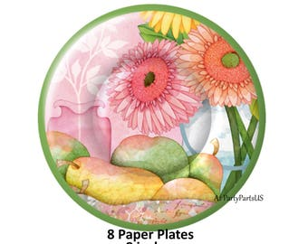 flower plates garden party floral tableware spring scene gerbera daisies daisy flowers summer wedding decorations bridal shower tea  sc 1 st  Etsy & Daisy plates | Etsy