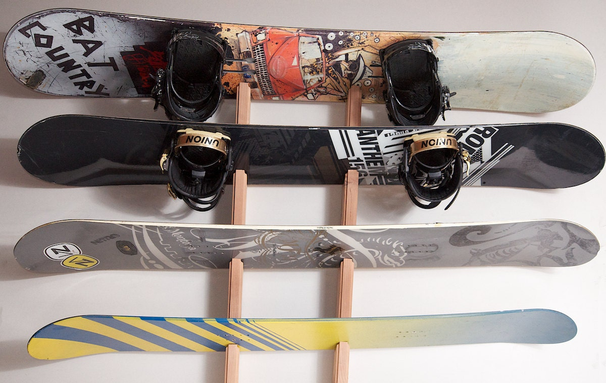 Snowboard Wall Rack Mount Holds 4 Boards