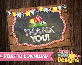 Farm Birthday Thank You Card, Digital File, Barnyard Birthday, Barnyard Thank You, Farm Birthday, Barnyard Party