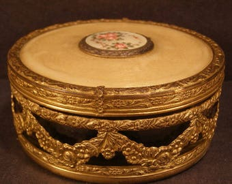 Antique Guilloche Enamel Gold Gilt Ormolu Casket Powder Jar Jewelry Trinket Box