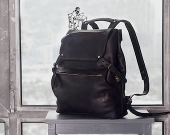 Black leather backpack,leather backpack black,Black backpack leather,Black rucksack leather,Handmade back pack leather,Black bag leather