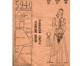 RARE 1940s Australian Home Journal 5940 Womens Wedding Dress with Ruched Bodice & Sleeves Vintage Sewing Pattern Bust 32 inches