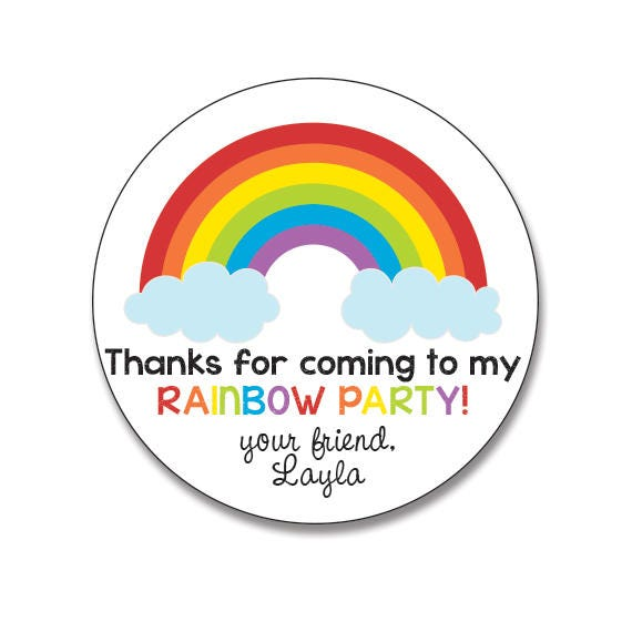 Rainbow birthday stickers personalized round gift stickers for girls birthday party favor stickers