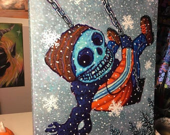 Winter Skeleton Kid on Swingset Original Acrylic Painting by Mister Reusch