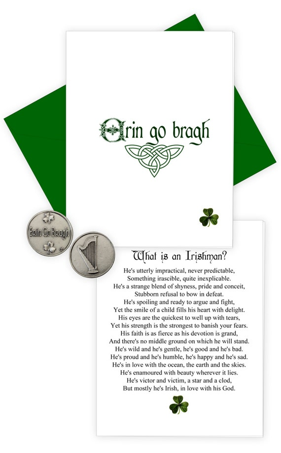 Erin go bragh handmade greeting card with irish pewter finish erin go bragh handmade greeting card with irish pewter finish pocket token ireland forever m4hsunfo