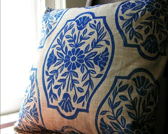 Navy Blue Chinoiserie Floral PIllow Case