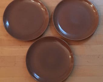 Russel Wright Iroquois Casual China Brown Dinner Plates Mid Century