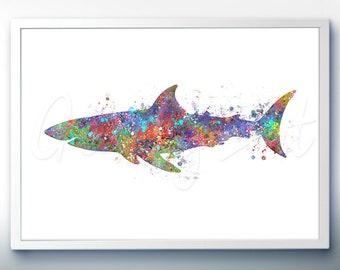 Shark Sea Animal Watercolor Art Print  - Watercolor Painting - Sea Life Watercolor Art Painting - Home Decor - House Warming Gift
