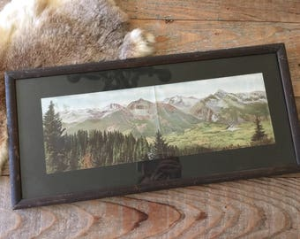 The Snow Capped Peaks of the Rockies - Antique Framed Lithograph of the Rocky Mountains