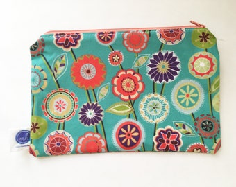 Floral Print Blue Zipper Pouch (Orange Zipper)